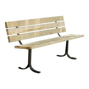 wooden bench with back - pine